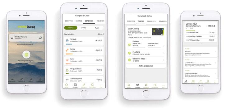 4 vues de l'application monabanq pour smartphone