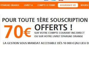 assurance vie ing direct 70 euros offerts epargne en ligne. Black Bedroom Furniture Sets. Home Design Ideas
