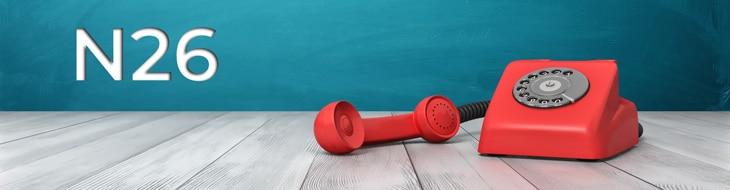 logo n26 et téléphone rouge
