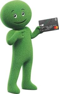 mascotte cetelem tenant une carte bancaire